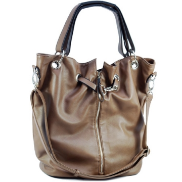 Dasein Tote Bag with Zipper Decoration-Brown