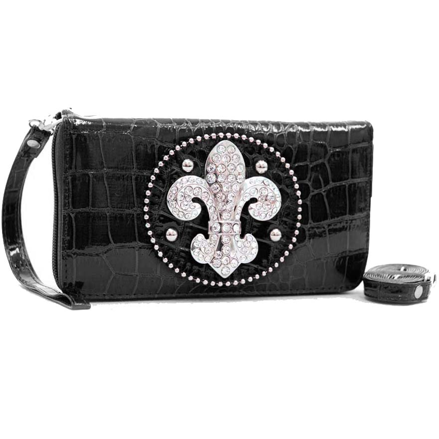 Rhinestone Fleur De Lis Sign Wallet Wristlet with Shoulder Strap