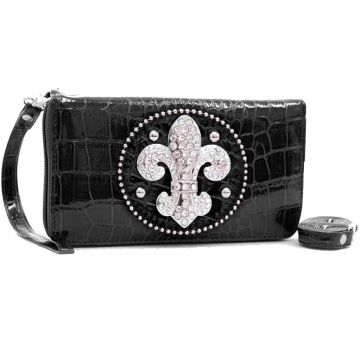 Ustyle Rhinestone Fleur De Lis Sign Checkbook Wallet with Wristlet and Shoulder Strap-Black