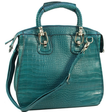 Dasein Designer Inspired Satchel with Fashion Croco Embossed Material-Turquoise Blue
