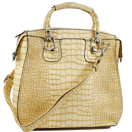 Dasein Kroco® Braided Handle Satchel
