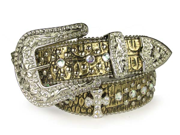 Ladies western studded croco embossed belt with rhinestone cross pattern