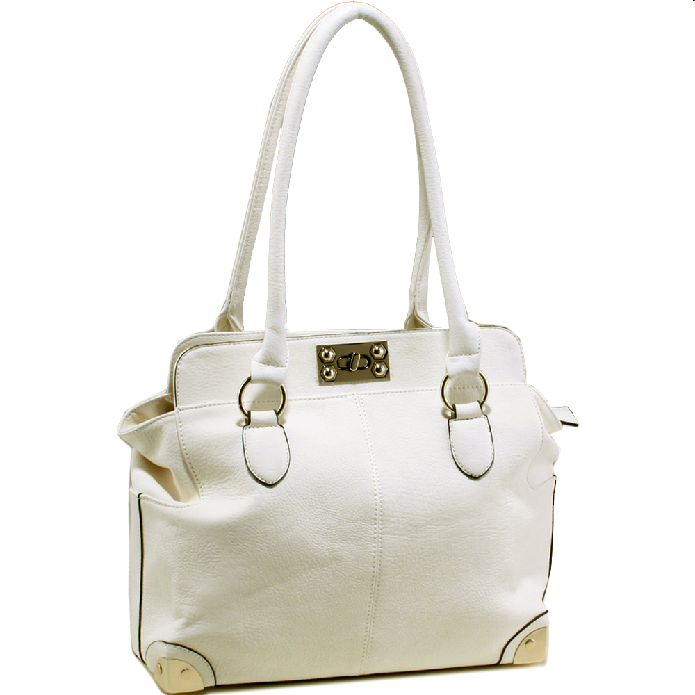Designer inspired satchel bag with silver tone hardware details