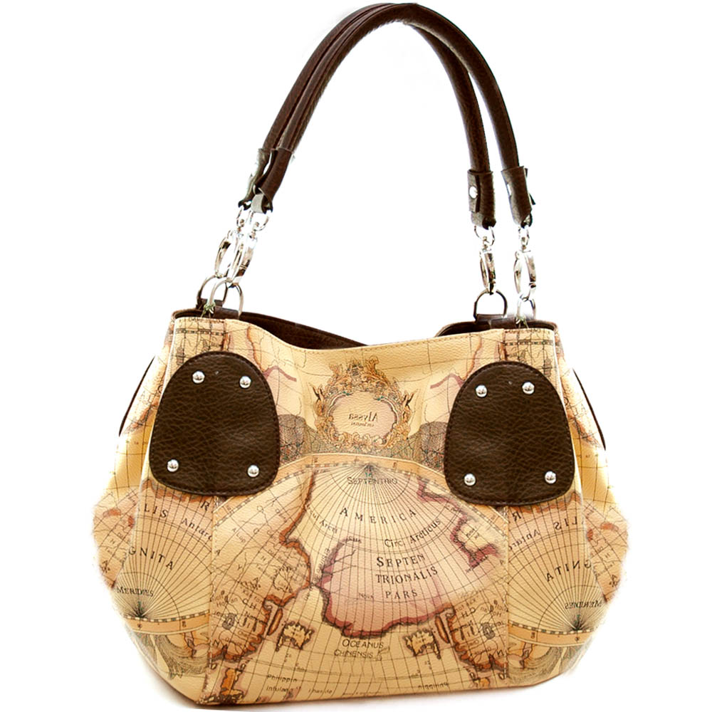 World map print expandable tote bag with coffee trim
