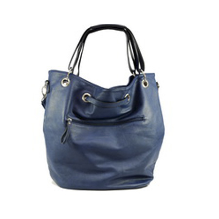 Dasein Tote Bag with Zipper Decoration-Navy Blue