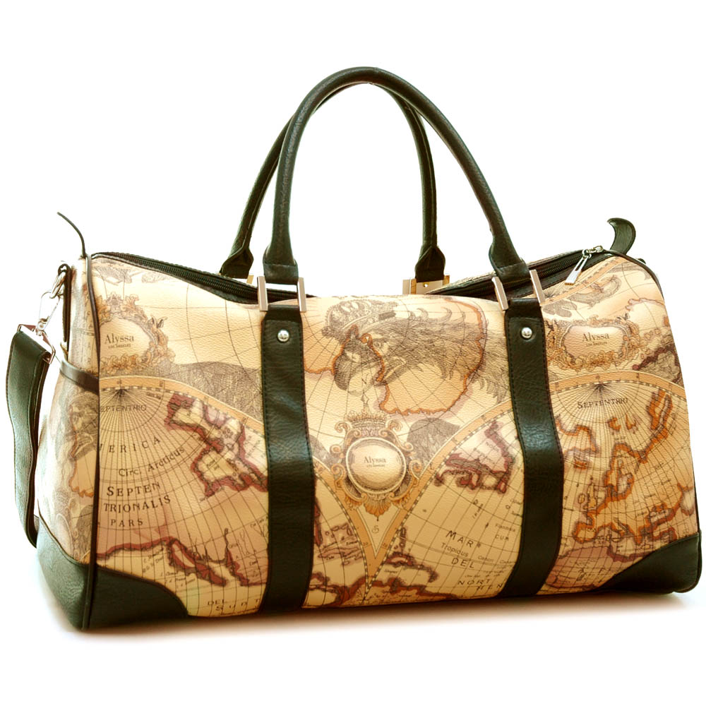 World map print luggage/ travel/ duffel bag with black trim