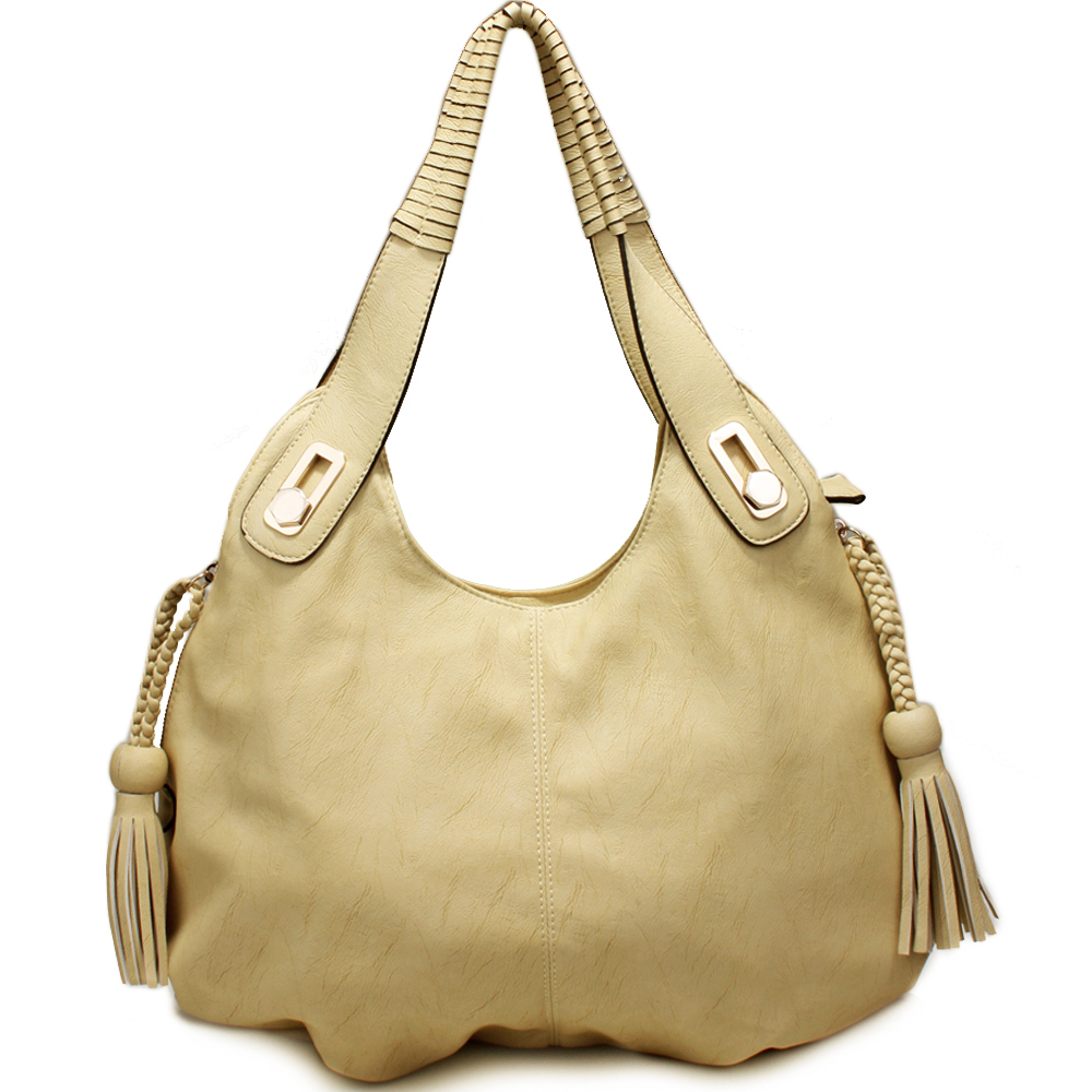 Designer inspired fashion hobo bag with braid tassel accents