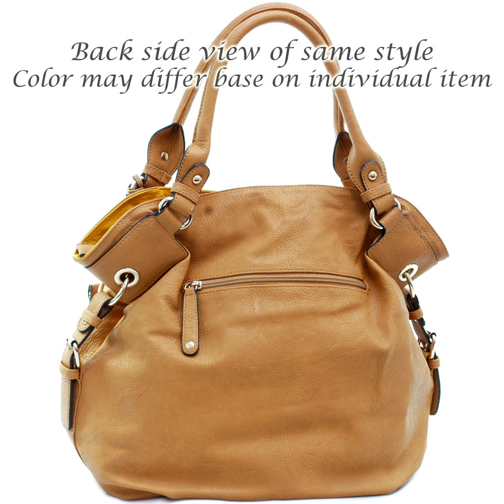 Designer inspired fashion hobo bag w/ 2 tone trim belted sides