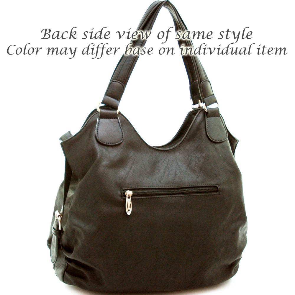 Designer inspired fashion 2 tone hobo bag with belted side accents