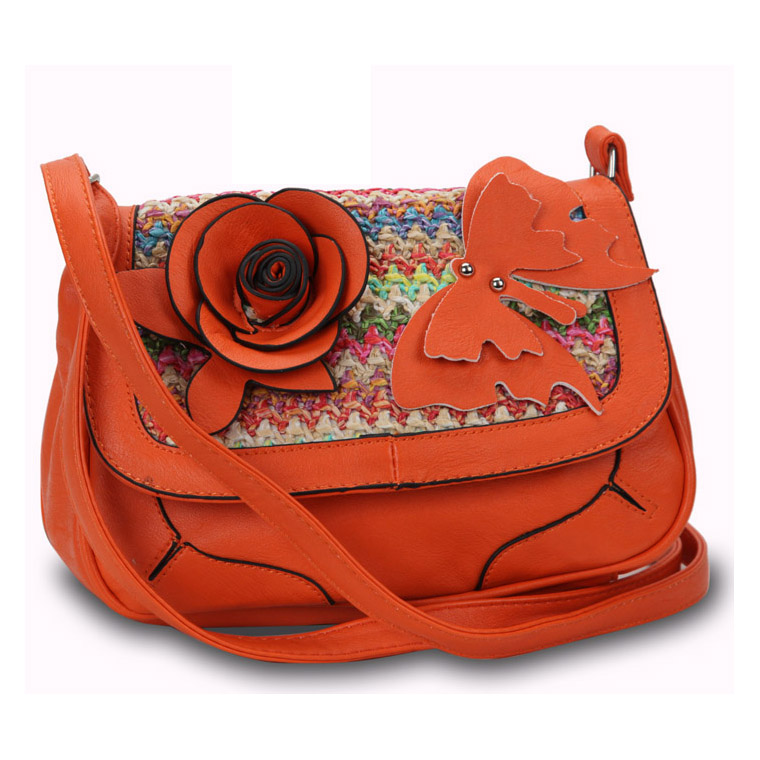 Fashion crossbody bag w/ multi-colored woven straw top flap flower