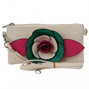 Trendy Mini Clutch / Wristlet with Multi-colored Flower Accent-Beige