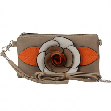 Trendy Mini Clutch / Wristlet with Multi-colored Flower Accent-Camel
