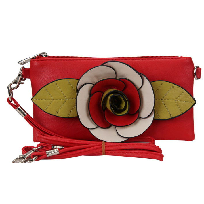 Fashion mini clutch/ wristlet with multi-colored flower accent - fashlets.com