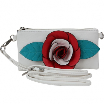 Trendy Mini Clutch / Wristlet with Multi-colored Flower Accent-White