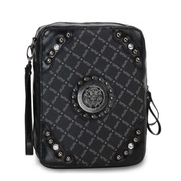 Fashion studded 2 tone bible cover with silver lion emblem Black