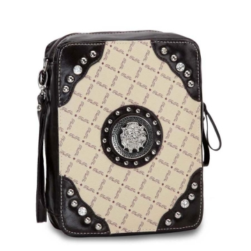 Trendy Studded 2 Tone Bible Cover with Silver Lion Emblem Accent-Taupe