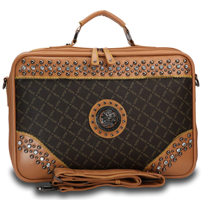 Fashion Designer Inspired Studded Accent 2 Tone Briefcase with Silver Lion Emblem-Brown