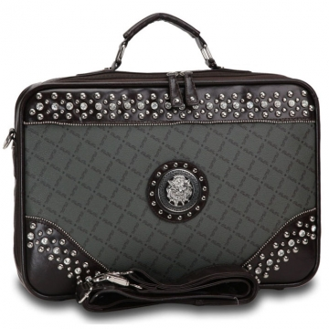 Fashion Designer Inspired Studded Accent 2 Tone Briefcase with Silver Lion Emblem-Grey