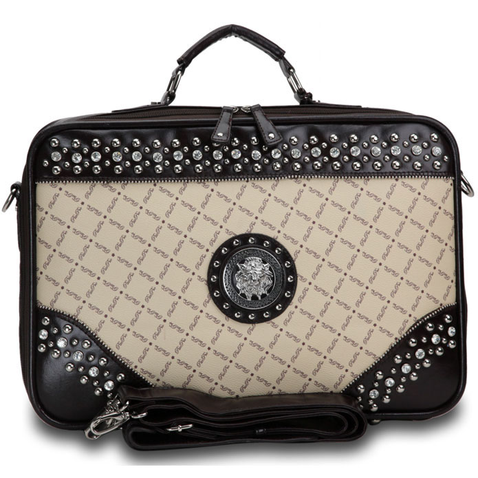 Fashion Designer Inspired Studded Accent 2 Tone Briefcase with Silver Lion Emblem-Taupe