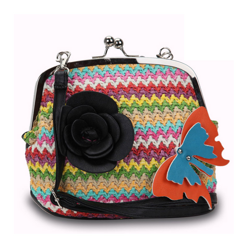 Diophy Fashion Crossbody Bag with Multi-colored Woven Straw Front Flower-Black
