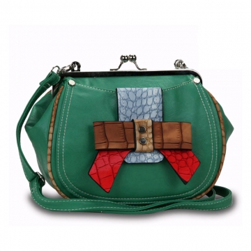 Stylish Crossbody Bag with Multi-colored Croco Embossed Bow Trim-Green