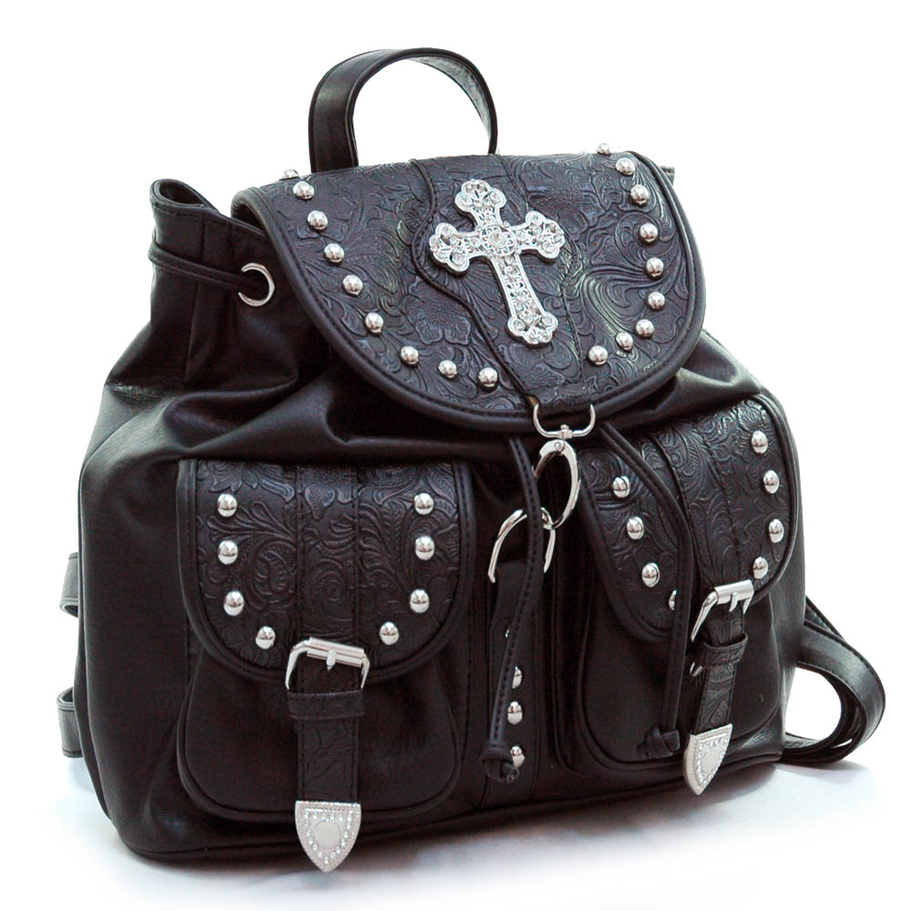 Western floral embossed backpack bag w/ rhinestone cross