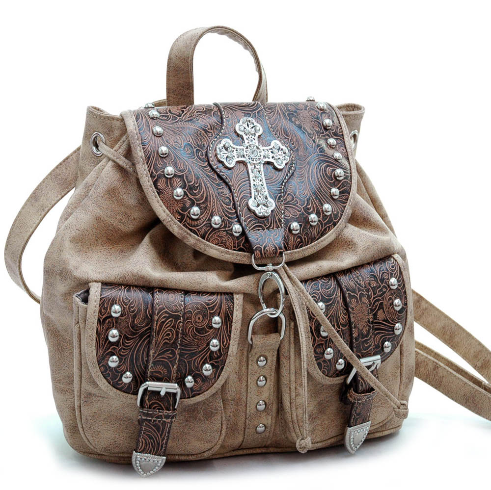 Ustyle Western Floral Embossed 2 Tone Backpack Bag with Rhinestone Cross Accent-Brown
