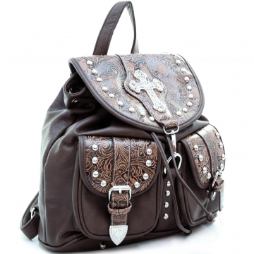 Western floral embossed 2 tone backpack bag w/ rhinestone cross