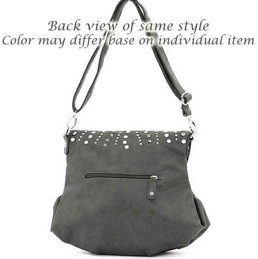 Studded top flap fashion messenger bag with tassel accents