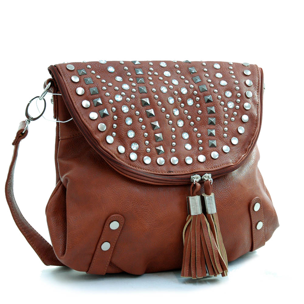 Ustyle Studded Top Flap Trendy Messenger Bag with Tassel Accents-Brown