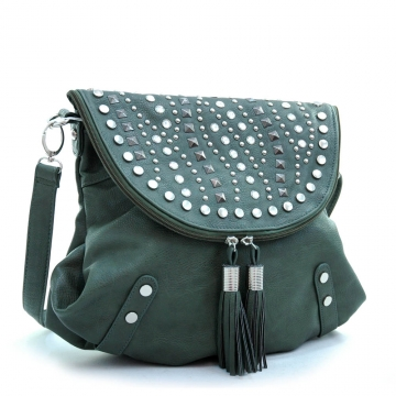 Ustyle Studded Top Flap Trendy Messenger Bag with Tassel Accents-Green