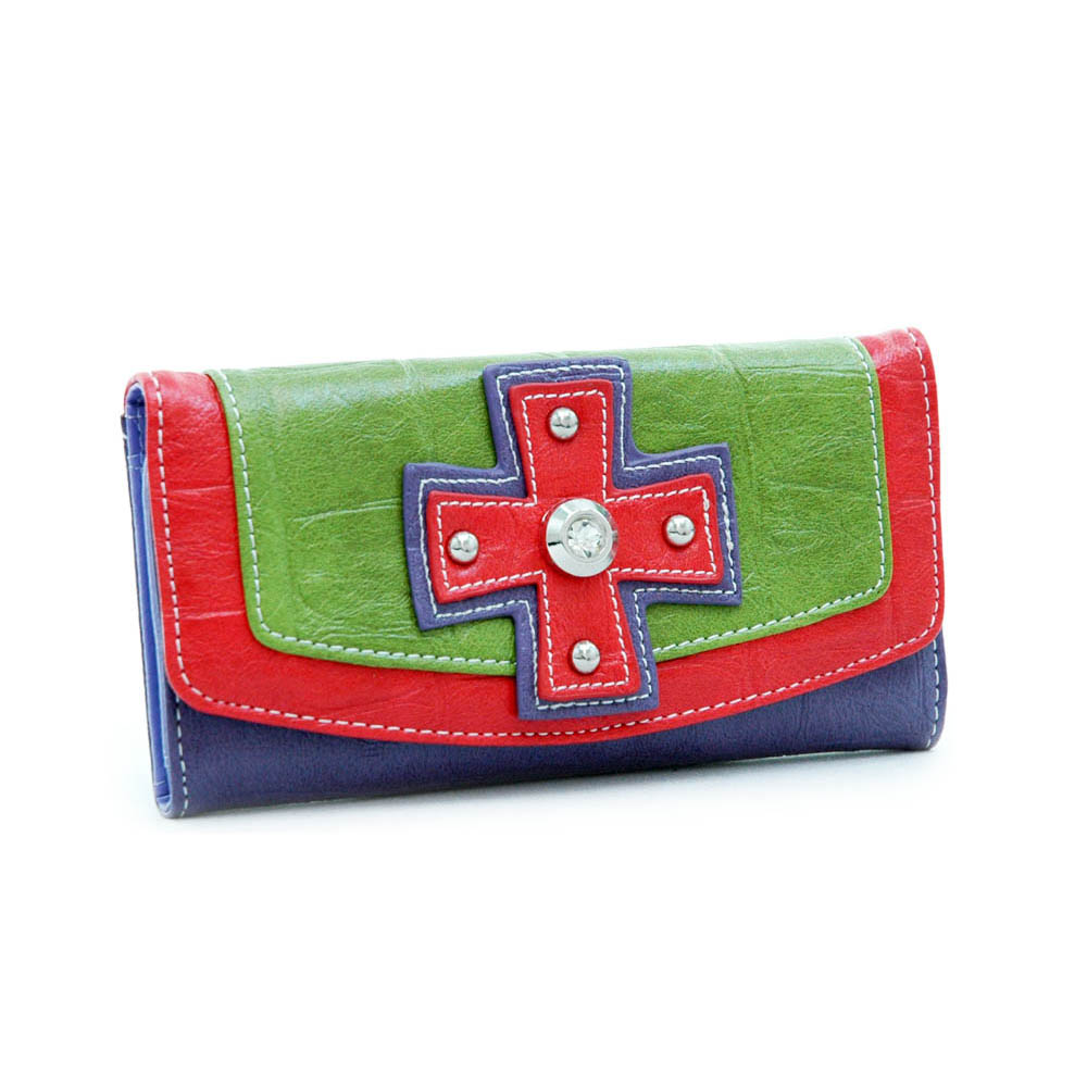 checkbook wallet with cross rhinestone accent