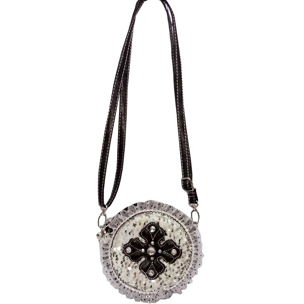 Ustyle Trendy Crossbody Bag with Studded Cross & Ruffle Sequin Accents