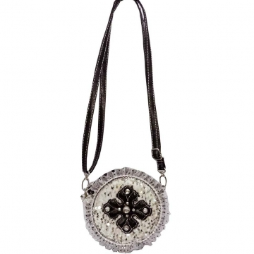 Ustyle Trendy Crossbody Bag with Studded Cross & Ruffle Sequin Accents-Black