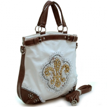 Fashion oversized tote bag w/ studded fleur de lis, ruffle sequins