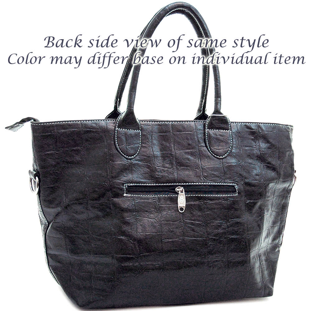 Ustyle Fashion Oversized Tote Bag with Studded Fleur de Lis & Ruffle Sequins-Black