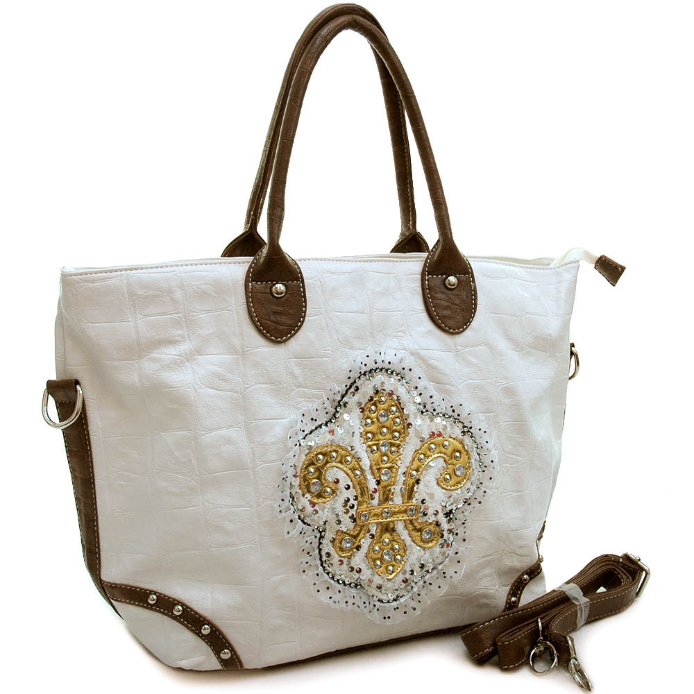 Ustyle Fashion Oversized Tote Bag with Studded Fleur de Lis & Ruffle Sequins-White