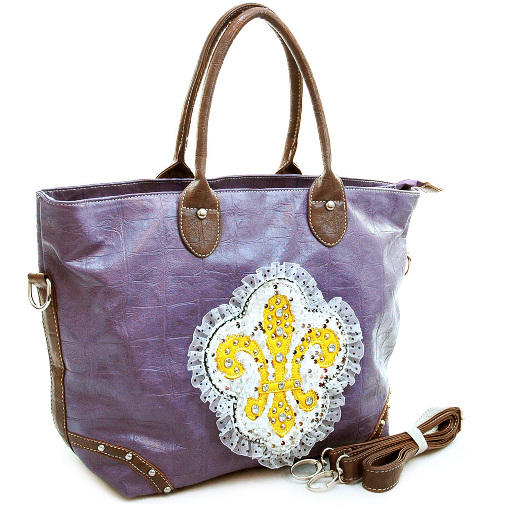 Ustyle Fashion Oversized Tote Bag with Studded Fleur de Lis & Ruffle Sequins-Purple
