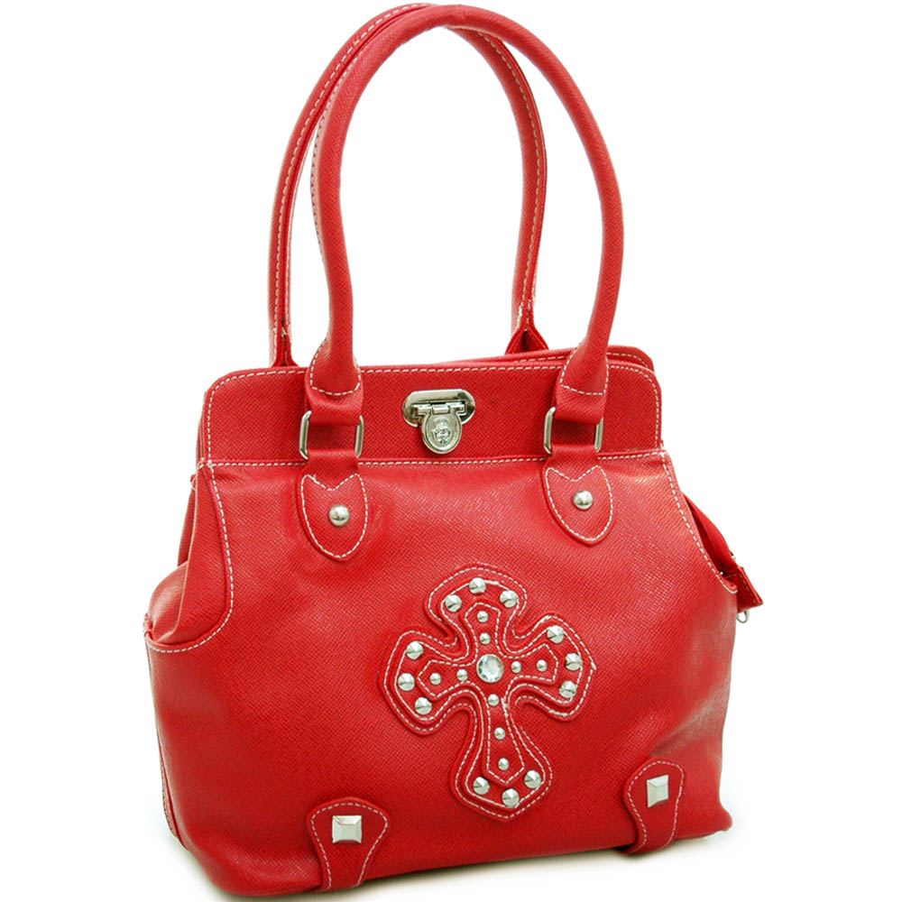 Fashion expandable satchel/ tote bag with studded cross