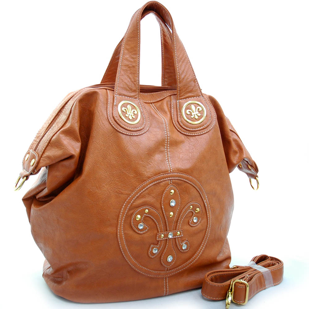 Ustyle Trendy Weekender / Oversized Tote Bag with Fleur de Lis Accents-Brown