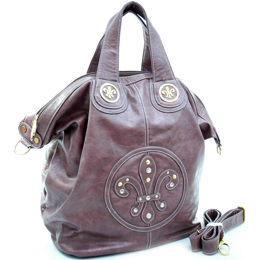 Fashion weekender/ oversized tote bag with fleur de lis accents