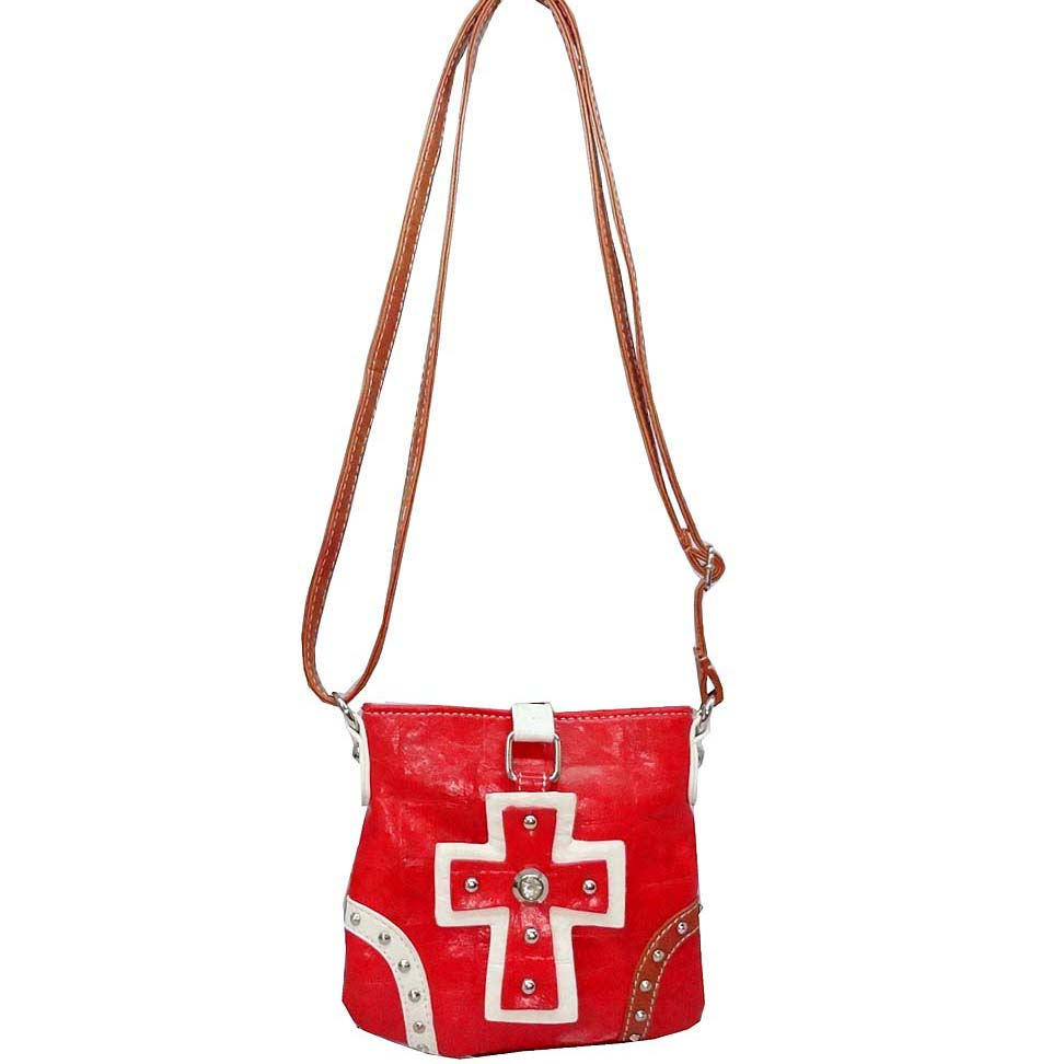 Fashion multi-color croco embossed crossbody bag w/ studded cross