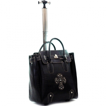 Ustyle Fashion Weekender / Oversized Tote Bag with Cross Accents-Black
