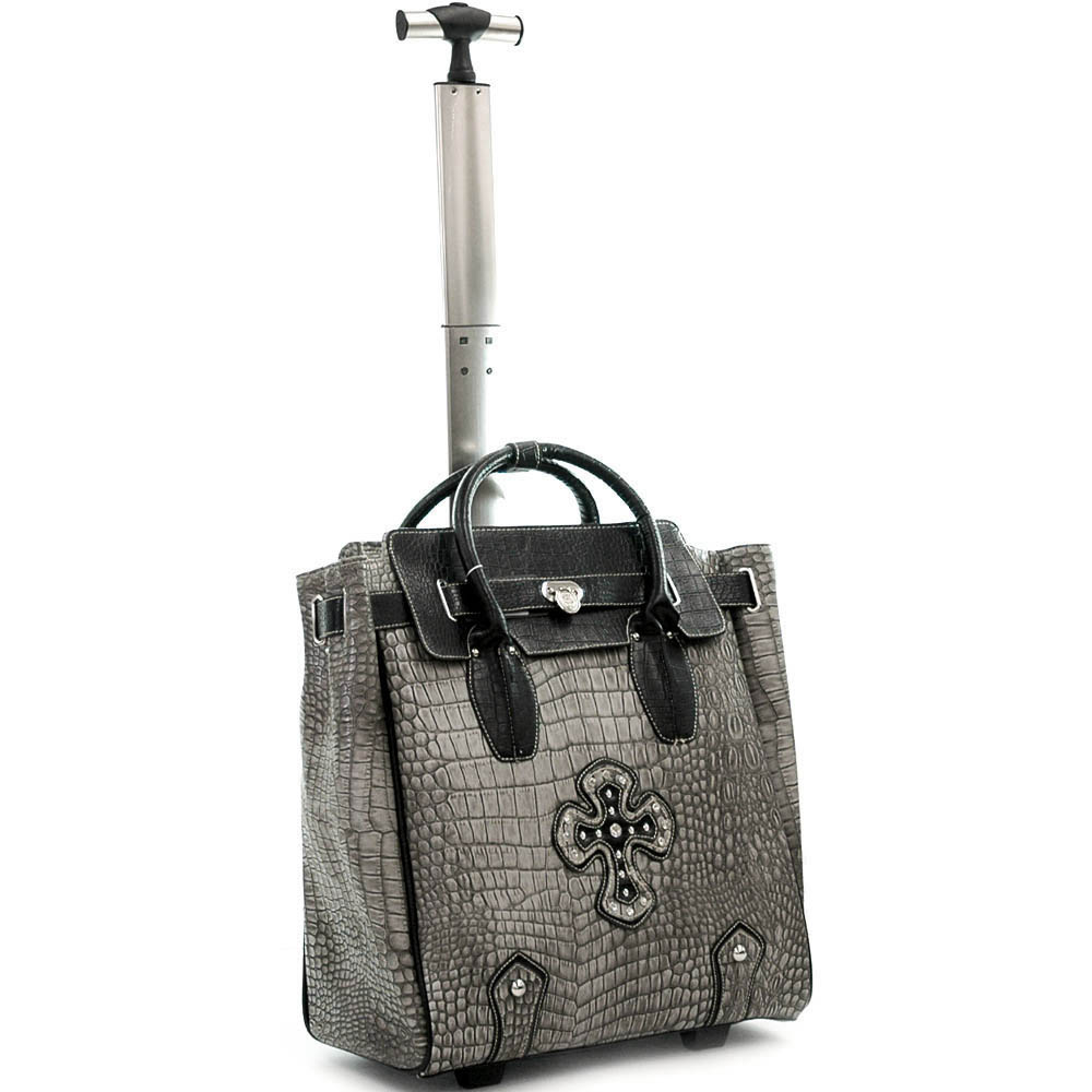 Ustyle Fashion Weekender / Oversized Tote Bag with Cross Accents-Grey