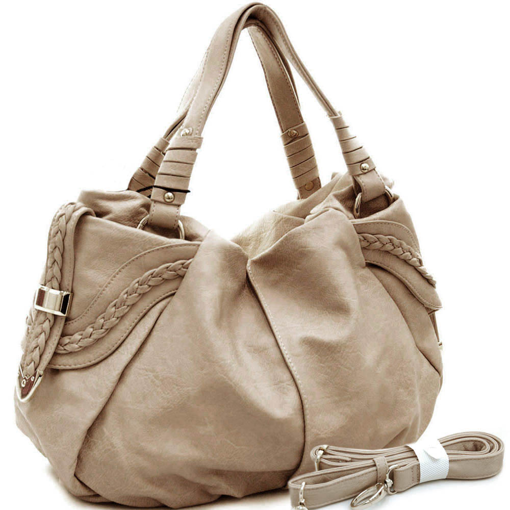Emperia tote bag with braided trim & dual straps