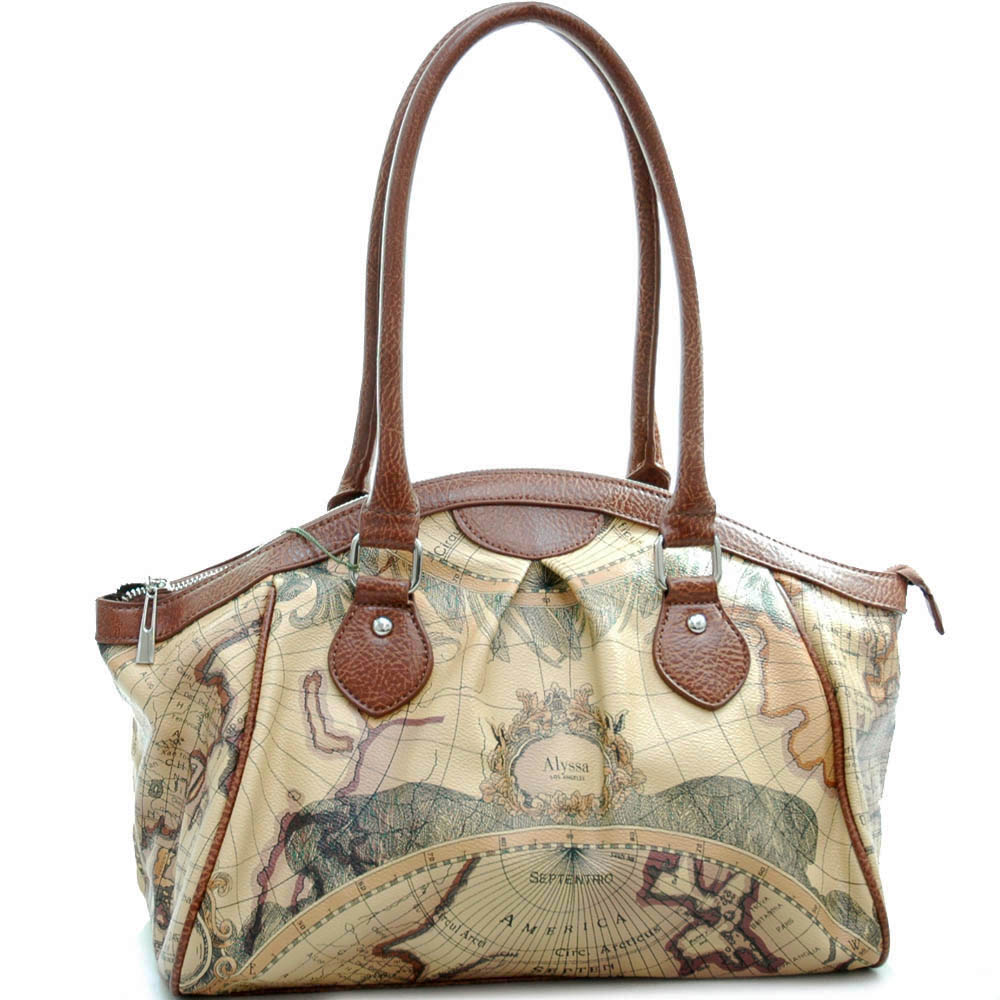 World map print shoulder bag with curve zip top
