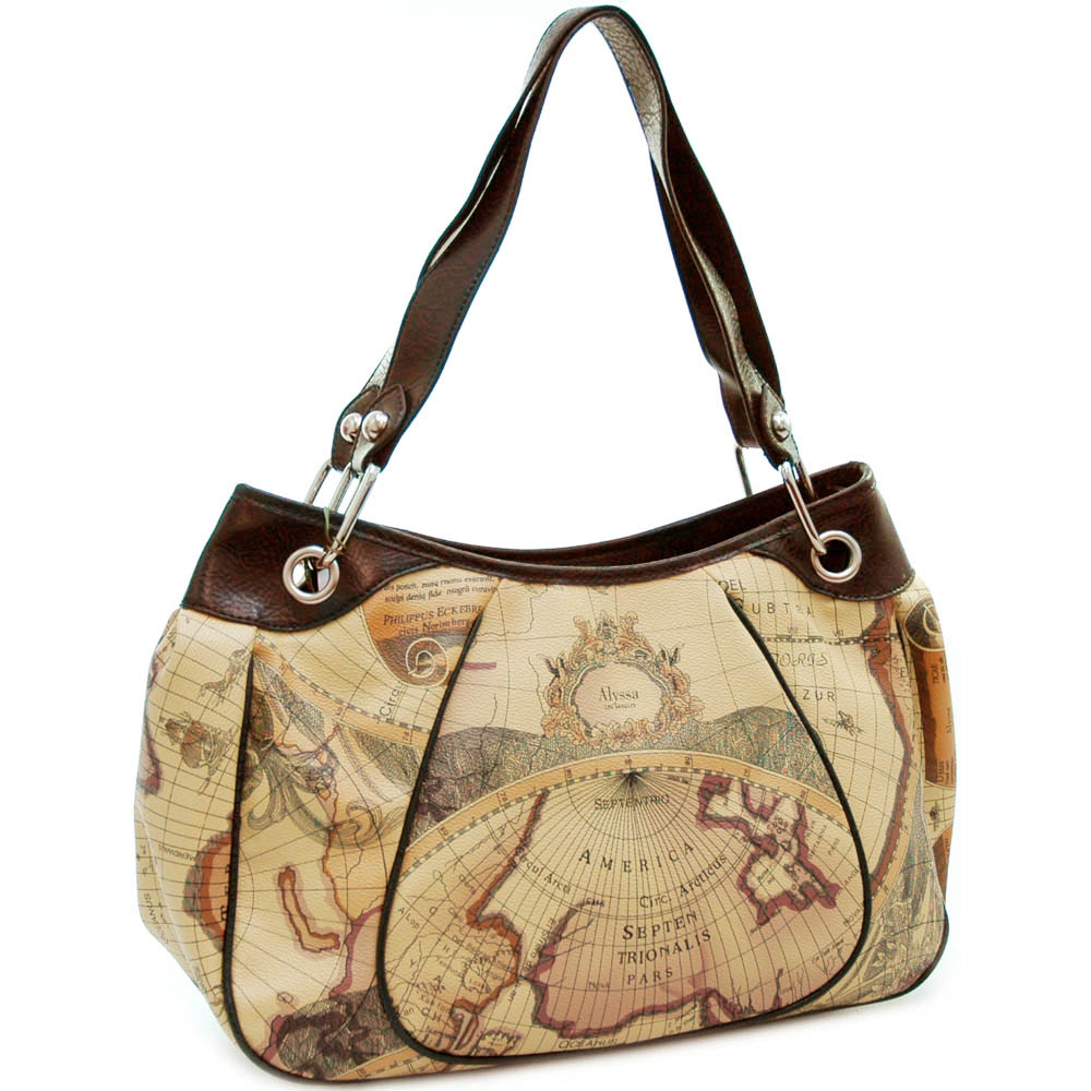 World Map Print Wide Shoulder Bag with Chained in Strap - Coffee