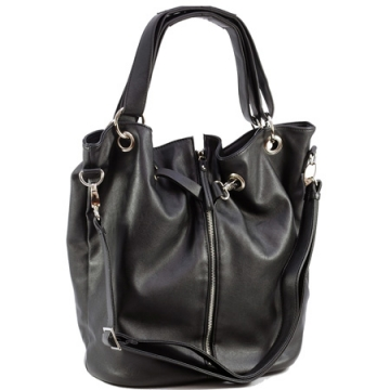 Dasein Tote Bag with Zipper Decoration-Black