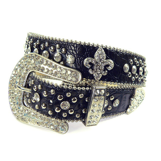 Dasein Ladies Western Studded Croco Belt with Rhinestone Fleur de Lis Pattern-Black