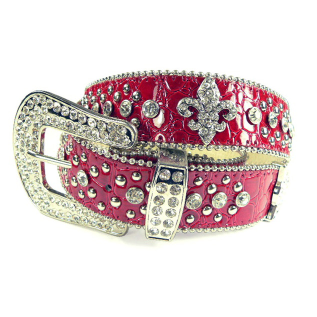 Dasein Ladies Western Studded Croco Belt with Rhinestone Fleur de Lis Pattern-Red